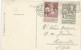 CARTE POSTALE 1910 AVEC TIMBRES A 1 ET 2 CT CAITAS OBLITERES BRUXELLES EXPOSITION - 1910-1911 Caritas