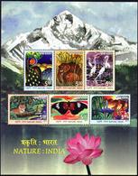 5X INDIA 2017 NATURE : INDIA; Miniature Sheet, MINT - Unused Stamps