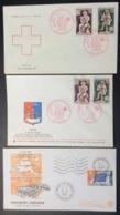 344- Croix-Rouge 1540 1541 X 2 Drapeau Service 29 Flamme Conseil De L'Europe FDC Premier Jour Lot 3 Lettre Enveloppe - FDC