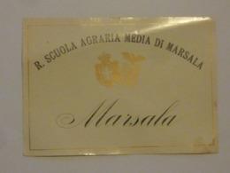 """Etichetta """"REGIA SCUOLA AGRARIA MEDIA DI MARSALA - MARSALA"""" Anni '30 - Rode Wijn"""