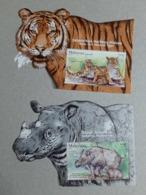 2019 Malaysia Wildlife Conservation Tiger Rhino Wild Animals Fauna  2 MS Miniture Stamp MNH - Malaysia (1964-...)
