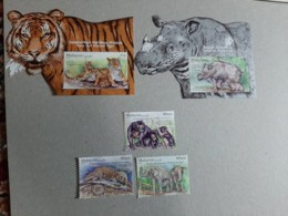 2019 Malaysia Wildlife Conservation Tiger Rhino Bear Elephant Wild Animals Fauna  Set & MS Miniture Stamp MNH - Malaysia (1964-...)