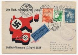 """AUTRICHE - Enveloppe Illustrée Affr Composé, OMEC De Graz """"Am 10 April Dem Führer Dein Ja"""" (Anschluss) - Briefe U. Dokumente"""