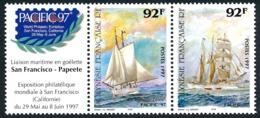 POLYNESIE 1997 - Yv. 531 Et 532 ** Avec Vignette  Faciale= 1,55 EUR - PACIFIC'97. Bateaux (2 Val.)  ..Réf.POL24697 - Polynésie Française