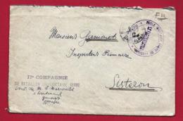 Enveloppe Militaire IIè Compagnie Bataillon Universitaire Serbe Ecole De Jausiers Tàd 1917 à M. Gamonet Inspecteur - Postmark Collection (Covers)