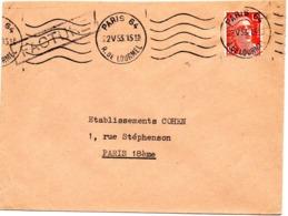 PARIS 64 / R. De LOURMEL 1953 = FLAMME KRAG MUETTE  ' 5 Lignes Ondulées ' SUPERBE - Maschinenstempel (Werbestempel)