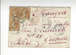 ESPAGNE MALAGA CACHET ENTREE 1862 POUR GRENOBLE FRANCE /FREE SHIPPING REGISTERED - Storia Postale