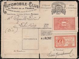 59 - ROUBAIX : AUTOMOBILE- CLUB Du NORD De La FRANCE -  Carte D'adhérent  De 1928 - Historical Documents