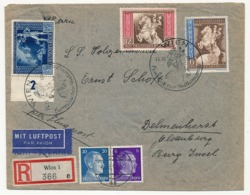 AUTRICHE - Enveloppe Rec Depuis Vienne 1942 - Affranchissement Composé - Briefe U. Dokumente