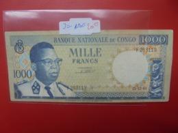 CONGO 1000 FRANCS 1961 CIRCULER - Congo