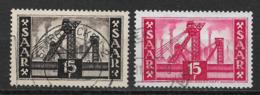 Germany 1952 - 1955 Saar, Mine Shafts, 15pf, Michel 327, 329 /Scott 240, 242, (o) - 1957-59 Federation