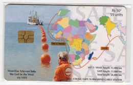 MAURICE Ref MV Cards : MAU-51 55U SAT-3-SAFE 50 000 Ex Année 2002 - Maurice