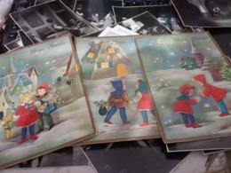 3 CARD  BUON NATALE  ILLUSTRATA  BAMBINI  N1965 HG1615 - Altri