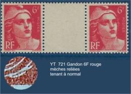 "FR Variétés YT 721 "" Gandon "" 1946 Mèches Reliées TAN - Varieties: 1945-49 Mint/hinged"