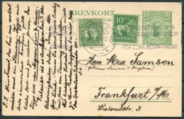 1922 Sweden Uprated Stationery Postcard Stockholm - Frankfurt Germany. Besparingar Machine Slogan Cancel - Covers & Documents