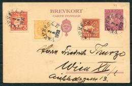 1922 Sweden Uprated Stationery Postcard Stockholm - Wien Austria. PKXP No 54E Railway TPO - Covers & Documents