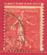 France N°199 Semeuse 50c Rouge 1924-32 (variété Piquage à Cheval) O - 1903-60 Semeuse A Righe