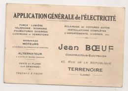 CARTE DE VISITE / RECU AVEC TIMBRE FISCAL / JEAN BOEUF TERRENOIRE LOIRE CONSTRUCTEUR ELECTRICIEN   B2000 - Cartes De Visite