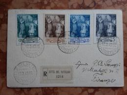 VATICANO - Serie Su Cartolina Raccomandata - Con Annullo Arrivo + Spese Postali - Vatican