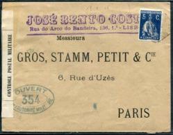 PORTUGAL - N° 212B / LETTRE DE LISBOA LE 18/1/1916 POUR PARIS AVEC CENSURE - TB - 1910-... République