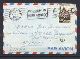 MAURY N°917 - CAEN SUR LETTRE AVION POUR LE LIBAN DU  17/1/1952 - Marcophilie (Lettres)