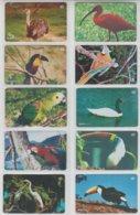 BRASIL 2003 BIRDS OSTRICH IBIS TOUCAN PARROT SWAN HERON SET OF 10 PHONE CARDS - Otros