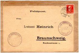 Bayern 1918, 10 Pf. Auf FP Paketadresse M. Briefstpl. Kriegszeitung Lille - Bavaria