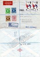 GB 1966, 6 Stamps On Regd. Express Letter From London. München Rohrpost! - Gran Bretagna