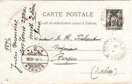 Frankreich 1896, 10 C. Ganzsache V. Port Louis N. Norwegen - France