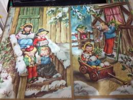 2 CARD BUON NATALE  ILLUSTRATA BAMBINI N1965 HG1618 - Natale