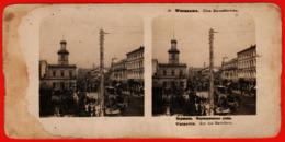 Varsovie Pologne Rue Marshalkovskaïa Tramway Stéréo Diorama étranger - Polonia