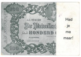 NED 3 - 12220 HOLLAND, Banknote 100 Gulden - Old Postcard - Used - Monete (rappresentazioni)