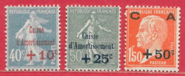 France N°246 40c+10c Bleu, N°247 50c+25c Vert-bleu, N°248 1F50+50c Rouge-orange Caisse D'amortissement 1927 * - Francia