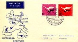 Aérophilatélie-Lufthansa Erstglug HAMBOURG-MADRID-cachet D'Hambourg Du 17.05.55 Pour Paris - Airmail
