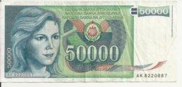 YOUGOSLAVIE 50000 DINARA 1988 VF P 96 - Joegoslavië