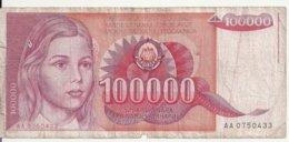 YOUGOSLAVIE 100000 DINARA 1989 VG+ P 97 - Joegoslavië