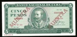 * Cuba 5 Pesos 1987  ! SPECIMEN ! - Cuba