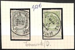 [832306]B/TB//O/Used-Belgique 1907 - N° 81 Et 83, TERMONDE / D, Armoiries - 1893-1907 Armoiries