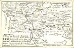 Caricature Balkan War Scene Map Postcard, Ottoman Turkey (1910s) - Turkey