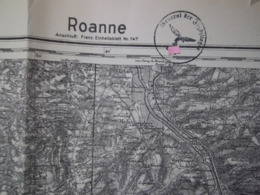 "Carte Allemande ""Roanne"" - Tampon De La Luftwaffe - 1939-45"