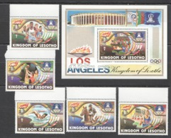 A721 1984 LESOTHO SPORT OLYMPIC GAMES LOS ANGELES 84 USA SET+BL MNHNH - Sommer 1984: Los Angeles