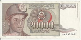 YOUGOSLAVIE 20000 DINARA 1987 VF+ P 95 - Joegoslavië