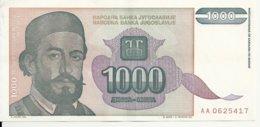 YOUGOSLAVIE 1000 DINARA 1994 VF+ P 140 - Joegoslavië