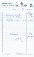 Factura Vieja Del Restaurante Ana Maria (Cambrils Puerto Tarragona) 19 De Julio 1975 - Espagne