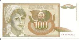 YOUGOSLAVIE 100 DINARA 1990 XF P 105 - Joegoslavië
