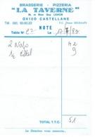 Ancienne Facture De La Brasserie Pizzeria La Taverne, Castellane (M. Et Mme Guy Lamon), 17/7/1983 - Sports & Tourisme