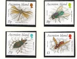 Ascension 1989 N° 478 / 81 ** Insectes, Coléoptère, Trichoptilus, Lucilia, Mouche, Alceis, Polistes, Guêpe, Papillon - Ascension (Ile De L')