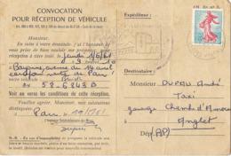 Carte Postale Professionnelle, Convocation Pour Réception D'une Buick, 1961, Bayonne, Futur Taxi De Pau - Toerisme