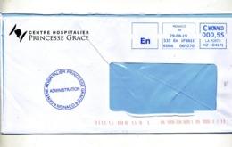 Lettre Flamme Ema  En Monaco Entete Hopital Grace - Marcophilie - EMA (Empreintes Machines)