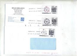 Lot 7 Lettre Flamme Chiffree Sur Timbre En Ligne Fete à Voir - Marcophilie (Lettres)